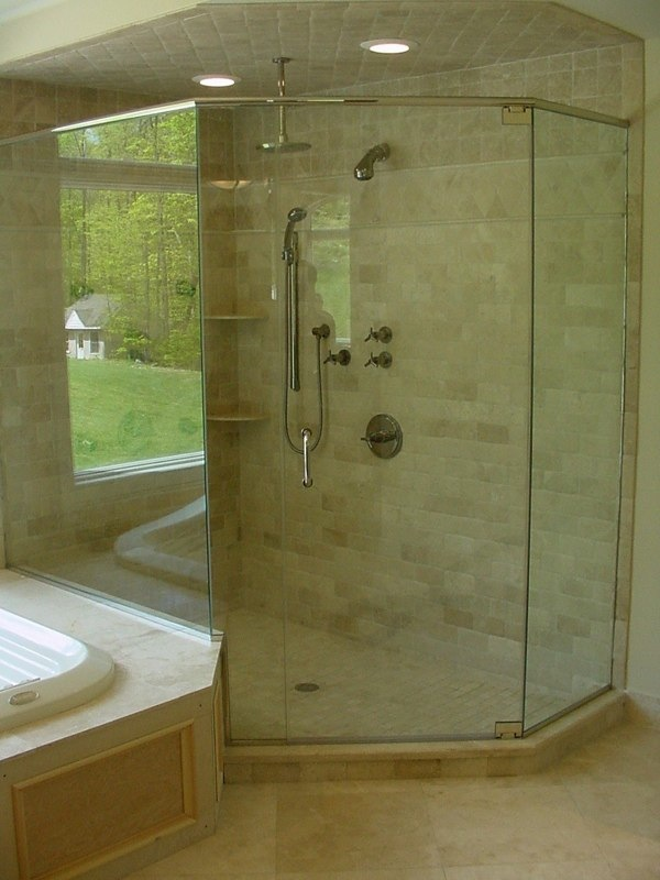3 Panel Neo Angle With Fixed On Tub Deck Polished Nickel Hardware Clear Temp Gl Header Required