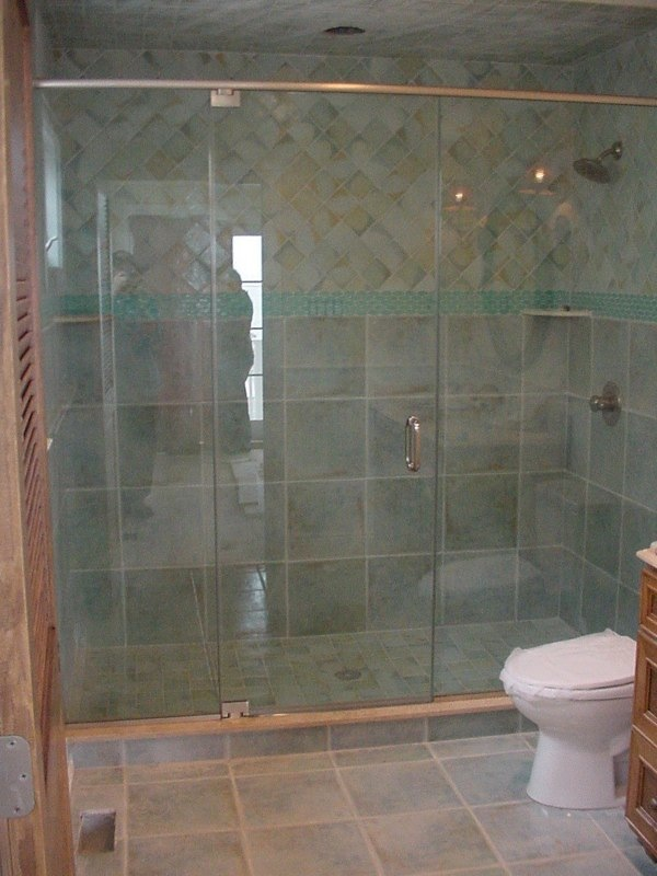 3 Panel Inline Shower Door With Brushed Nickel Hardware And Clear Temp Gl Header